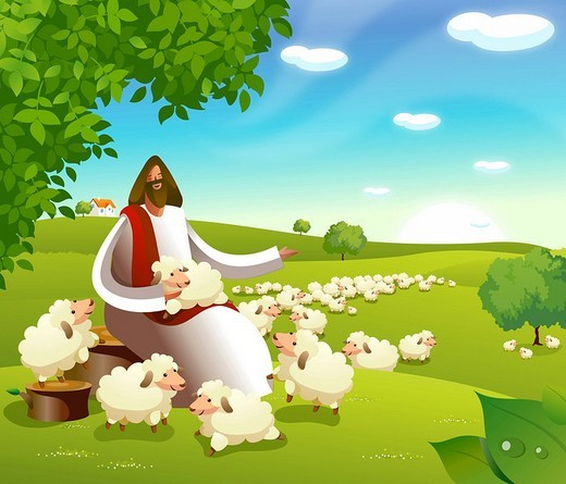 Jesus Christ sitting with a flock of sheep : Stock Photo