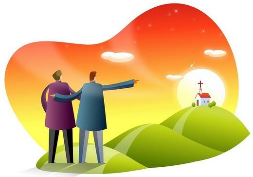 Rear view of two men pointing toward a church : Stock Photo