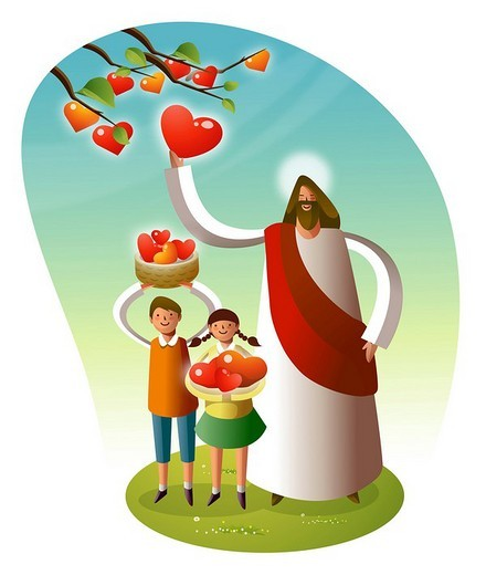 Jesus Christ standing with two children : Stock Photo