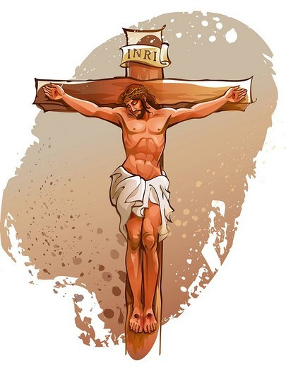 Stock Photo: 4170R-1531 Jesus Christ nailed on the cross