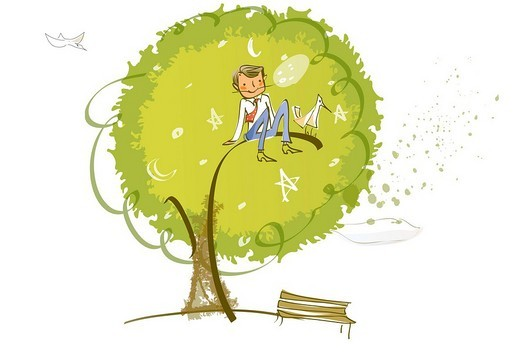 Businessman sitting on the branch of a tree : Stock Photo