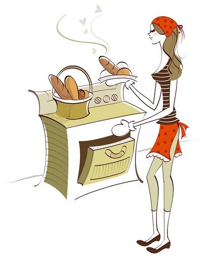 Stock Photo: 4170R-1602 Woman holding baked food near an oven
