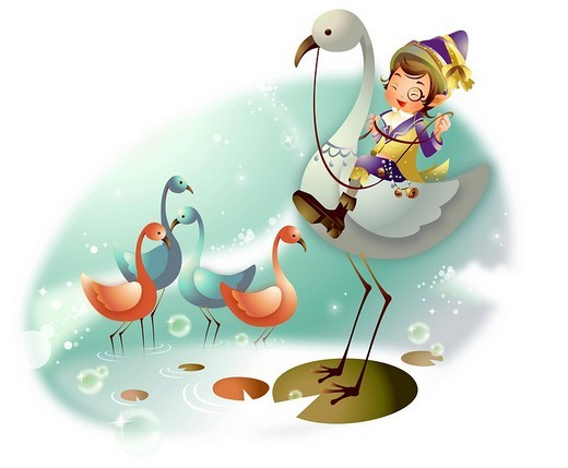 Stock Photo: 4170R-1674 Boy riding a flamingo