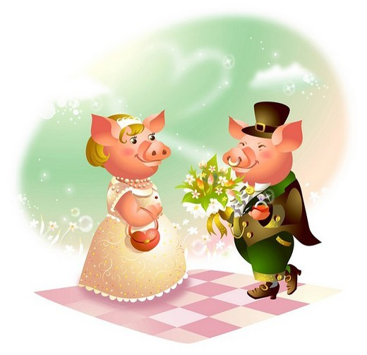 Stock Photo: 4170R-1677 Male pig giving a bouquet of flowers to a female pig