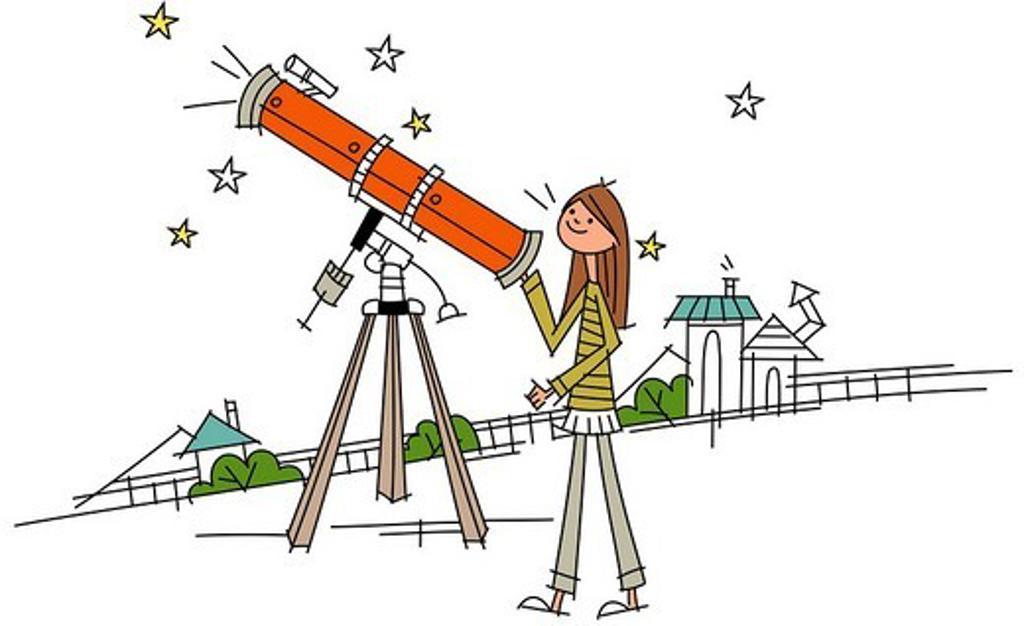 Stock Photo: 4170R-1754 Woman using an astronomy telescope