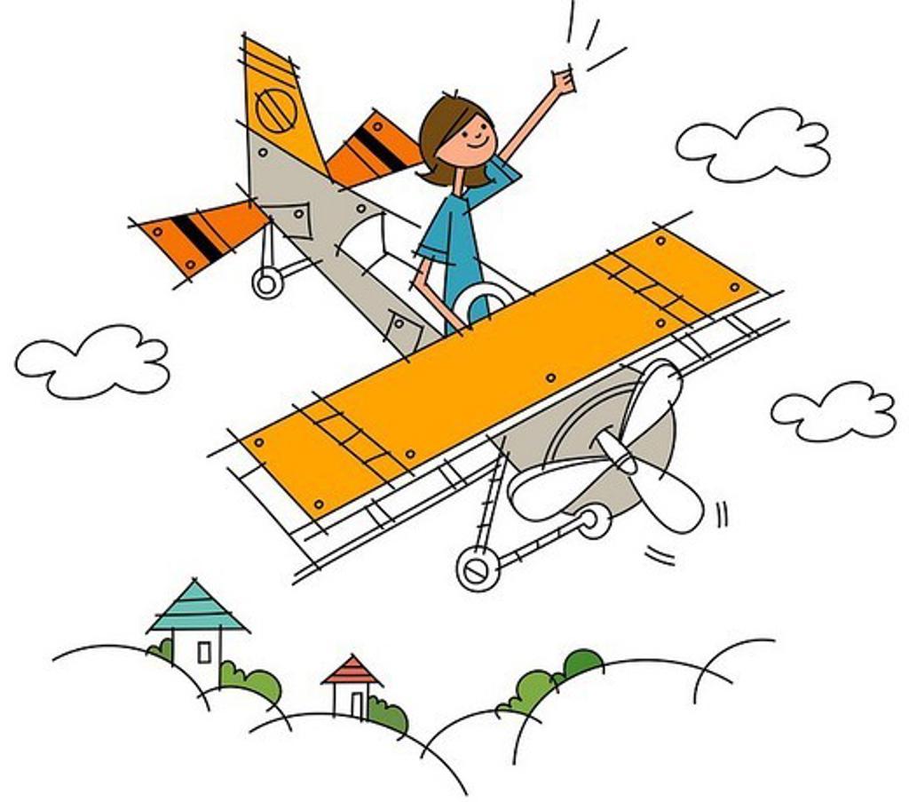 Woman flying on an aeroplane : Stock Photo