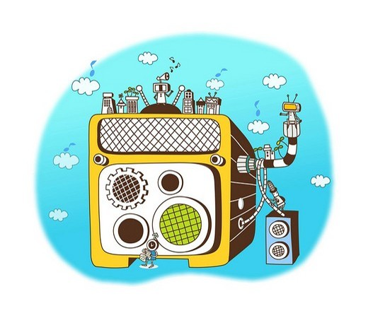 Buildings on a loudspeaker : Stock Photo