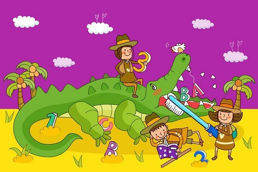 Stock Photo: 4170R-1915 Two girls and a boy playing with a crocodile