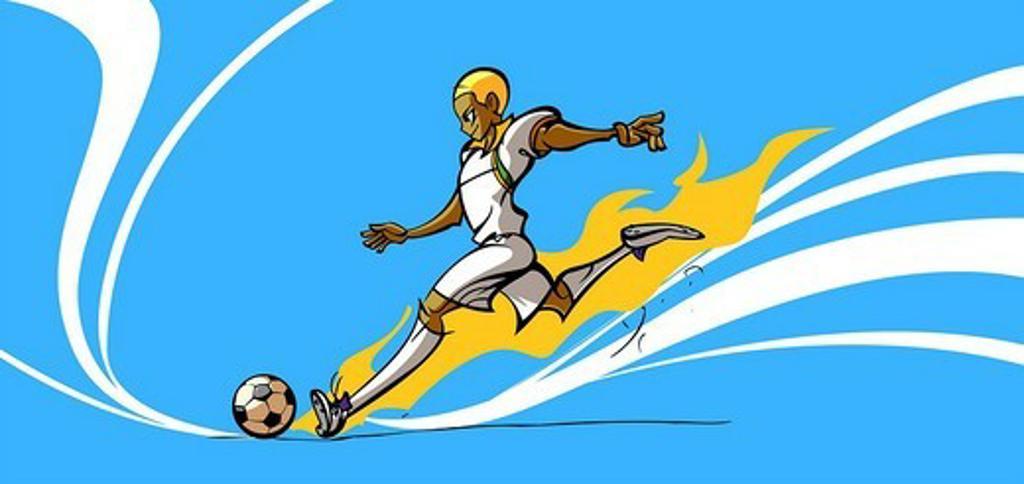 Soccer player kicking a soccer ball : Stock Photo