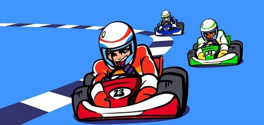 Three people participating in a go-carting race : Stock Photo