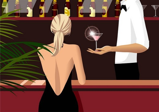 Stock Photo: 4170R-1952 Mid section view of a waiter serving a glass of martini to a woman sitting at a bar counter