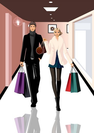 Stock Photo: 4170R-1979 Couple carrying shopping bags