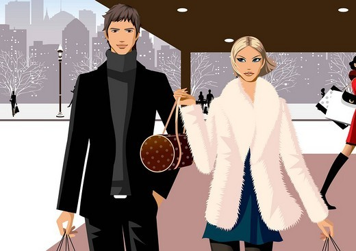 Stock Photo: 4170R-1983 Couple walking with shopping bags