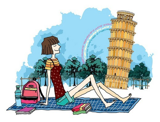 Side view of teenage girl sitting by tower : Stock Photo