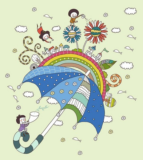 Stock Photo: 4170R-2271 Children playing with umbrella