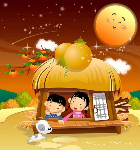 Children enjoying in hut : Stock Photo
