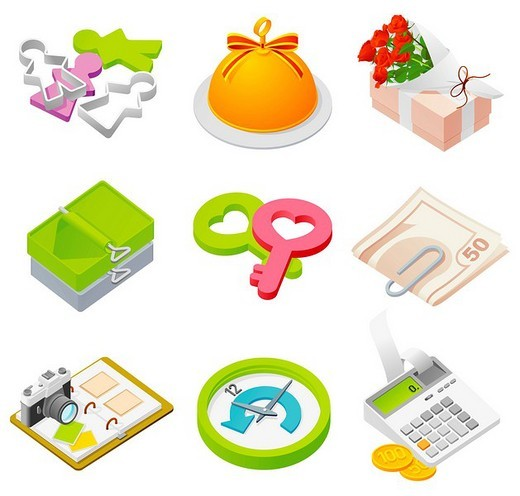 Stock Photo: 4170R-2537 Various objects displayed against white background