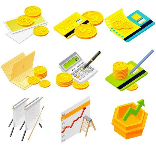 Stock Photo: 4170R-2556 Various money objects against white background