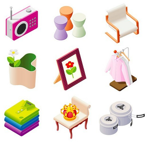 Stock Photo: 4170R-2605 Various objects displayed against white background
