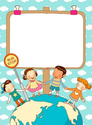 Stock Photo: 4170R-2767 Children With whiteboard Around Earth