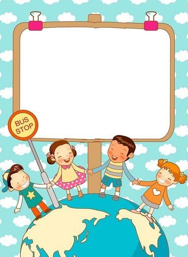 Children With whiteboard Around Earth : Stock Photo