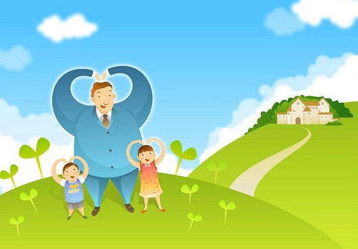 Children with father standing on lawn : Stock Photo