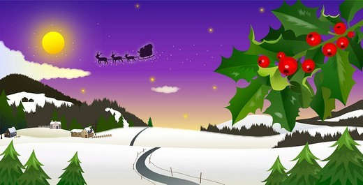 Snowcapped land, sleigh flying in sky : Stock Photo