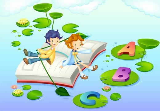 Children on book floating in water : Stock Photo