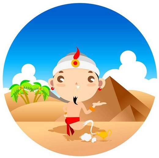 Genie coming out of lamp at desert : Stock Photo