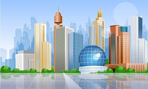 Stock Photo: 4170R-3060 Skyscrapers in a city