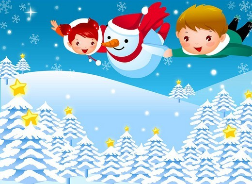 Boy and a girl flying with a snowman : Stock Photo