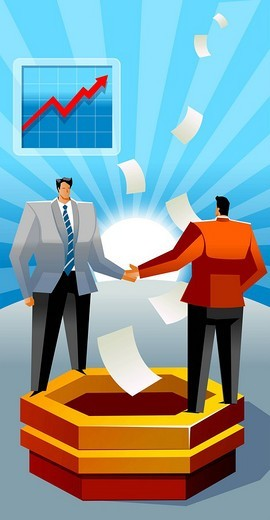Two businessmen standing on a ledge and shaking hands : Stock Photo