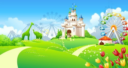Formal garden in front of an amusement park : Stock Photo