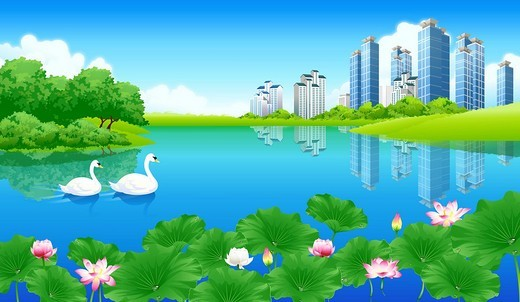 Stock Photo: 4170R-3201 Reflection of buildings in a pond