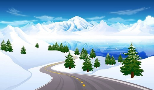 Stock Photo: 4170R-3215 Road passing through a polar landscape