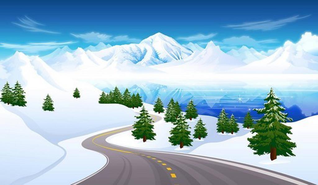 Road passing through a polar landscape : Stock Photo