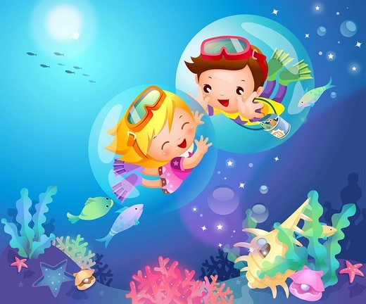 Side profile of a boy and a girl swimming underwater : Stock Photo
