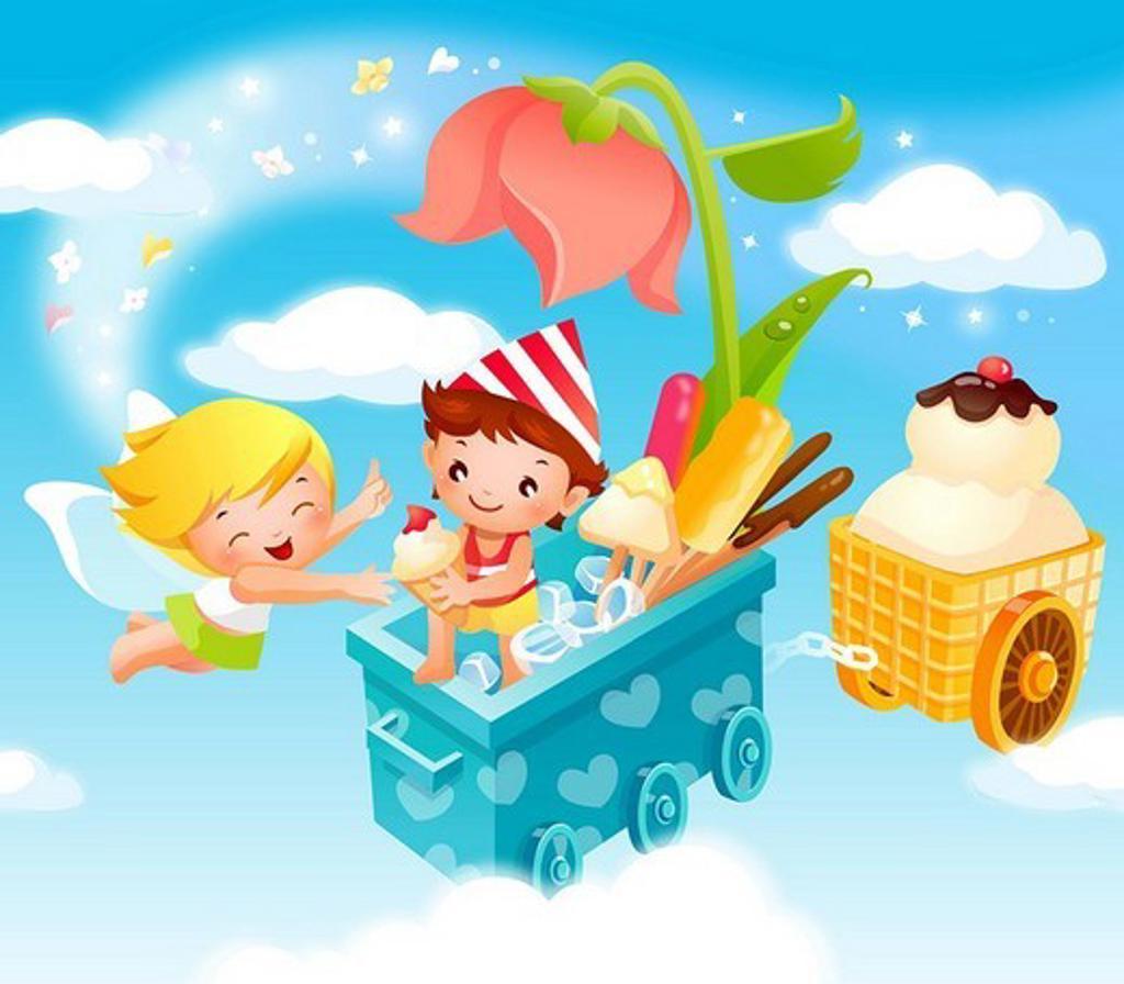 Boy giving ice-cream to an angel : Stock Photo