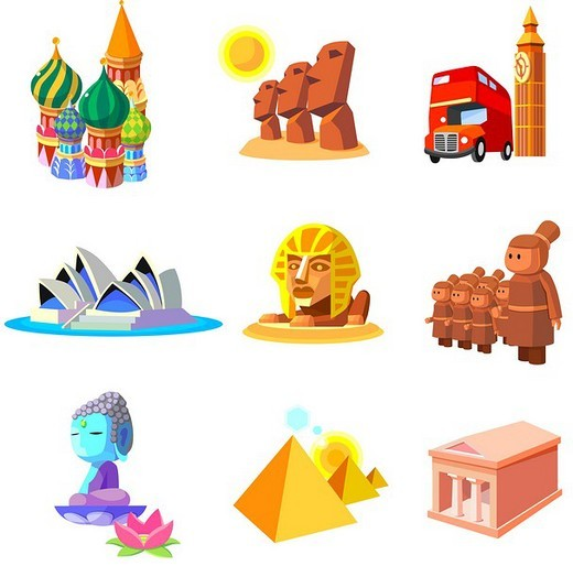 Stock Photo: 4170R-3269 Various monuments of world