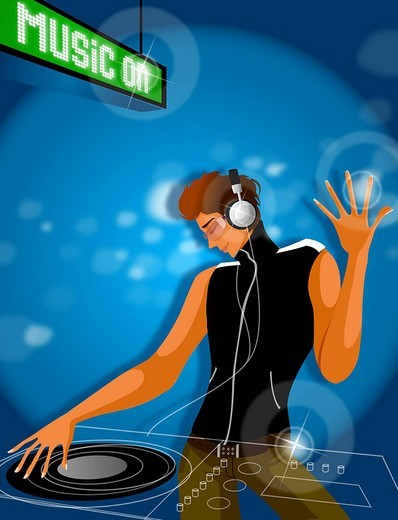 Disk jockey spinning record in a nightclub : Stock Photo