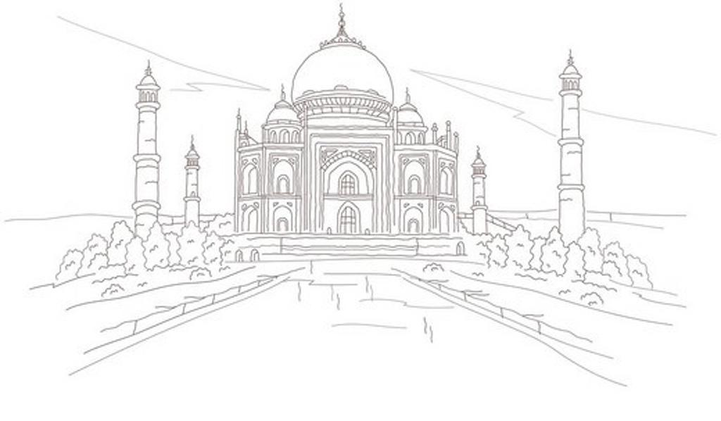 Stock Photo: 4170R-3392 Facade of a mausoleum, Taj Mahal, Agra, Uttar Pradesh, India