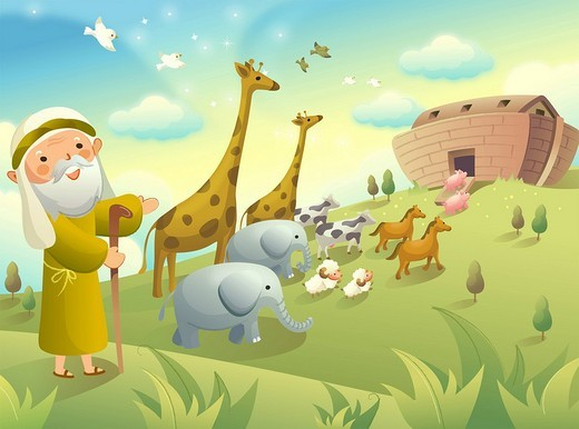 Noah gesturing and group of animals walking to an ark : Stock Photo