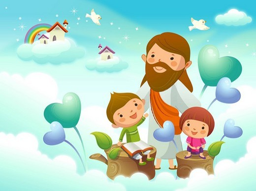 Jesus Christ with two children on the cloud : Stock Photo