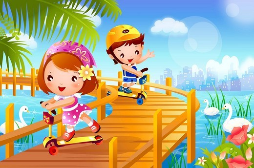 Stock Photo: 4170R-3629 Boy and a girl riding push scooters on the pier