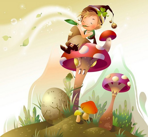 Stock Photo: 4170R-3683 Boy sitting on a mushroom and blowing a flute