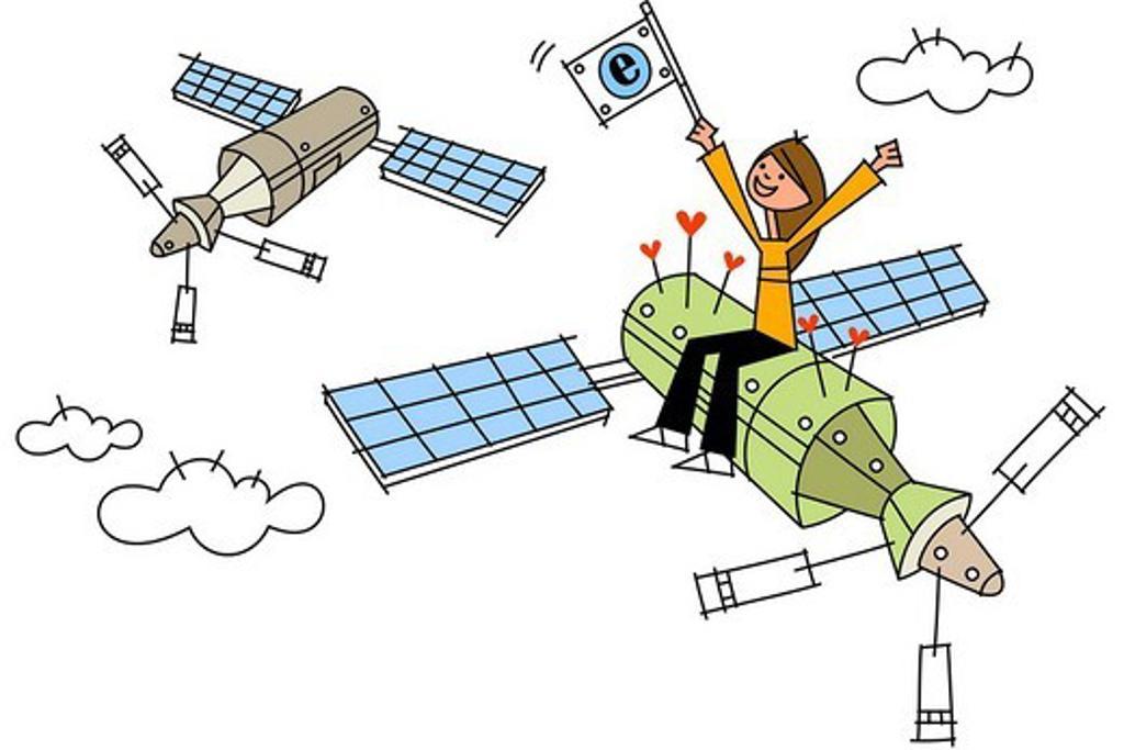 Woman sitting on a satellite : Stock Photo