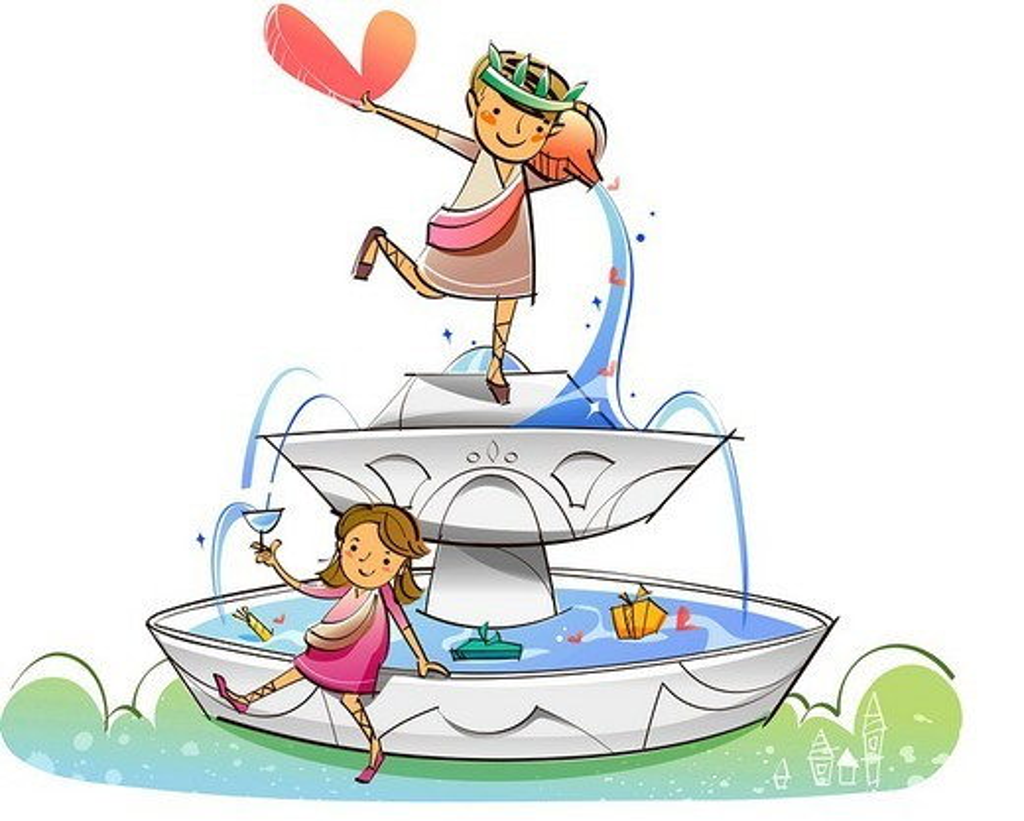 Couple on a fountain : Stock Photo
