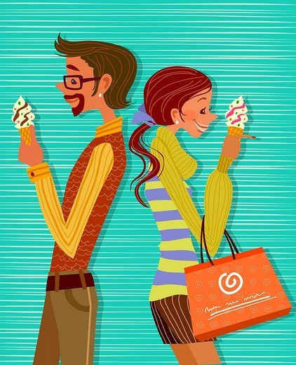 Stock Photo: 4170R-3844 Side profile of a man and a woman standing back to back and eating ice cream