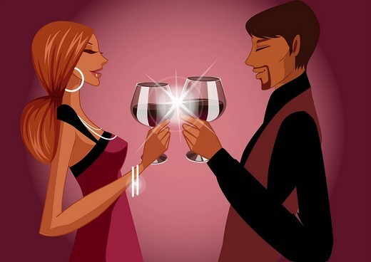 Side profile of a couple toasting with wine glasses : Stock Photo