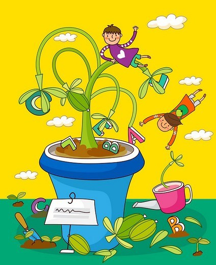 Children playing with potted plants : Stock Photo